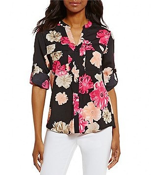 Calvin Klein Roll-Tab Sleeve Floral Printed Crepe de Chine Blouse