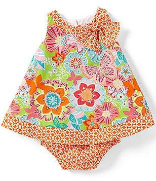 Counting Daisies Baby Girls 12-24 Months Floral/Butterfly-Printed Bow-Accented Dress