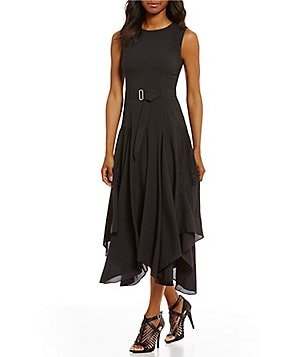 Calvin Klein A-line Handkerchief Hem Dress