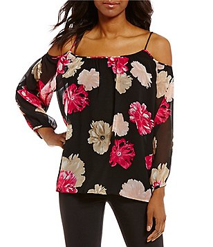 Calvin Klein Long Sleeve Cold-Shoulder Floral Print Chiffon Top