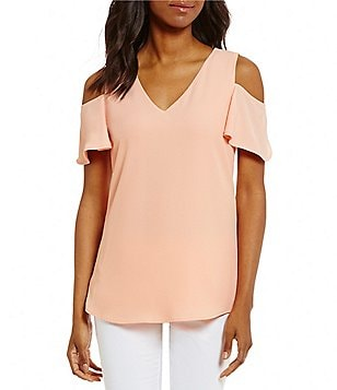 Calvin Klein V-Neck Flutter Sleeve Cold Shoulder Top