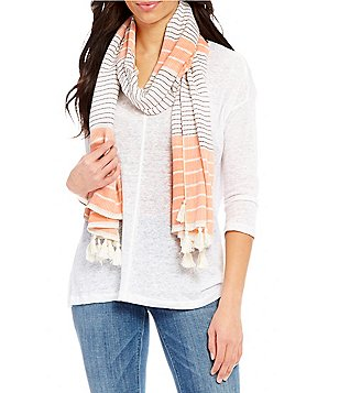 Landry Oceanside Tasseled Striped Wrap Scarf