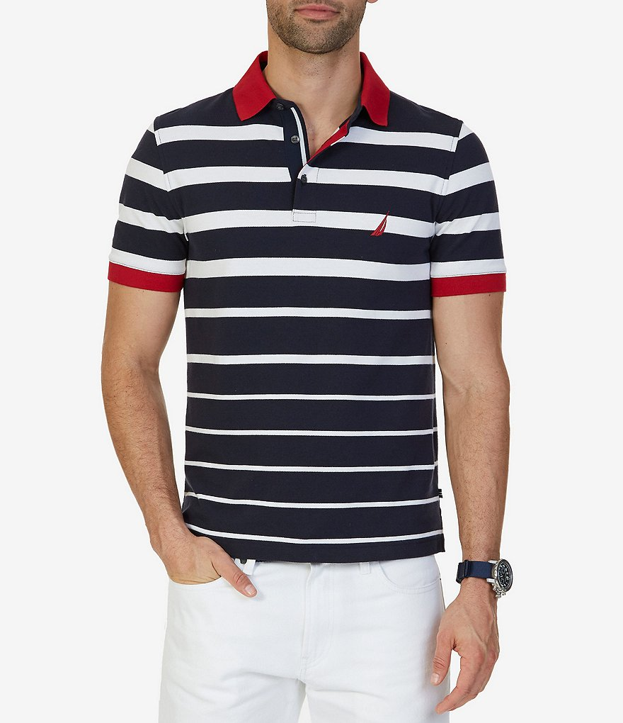 Nautica big tall classic fit striped short sleeve polo for Big and tall custom polo shirts