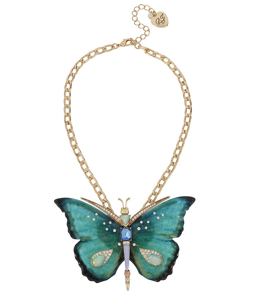 Betsey Johnson Butterfly Statement Pendant Necklace