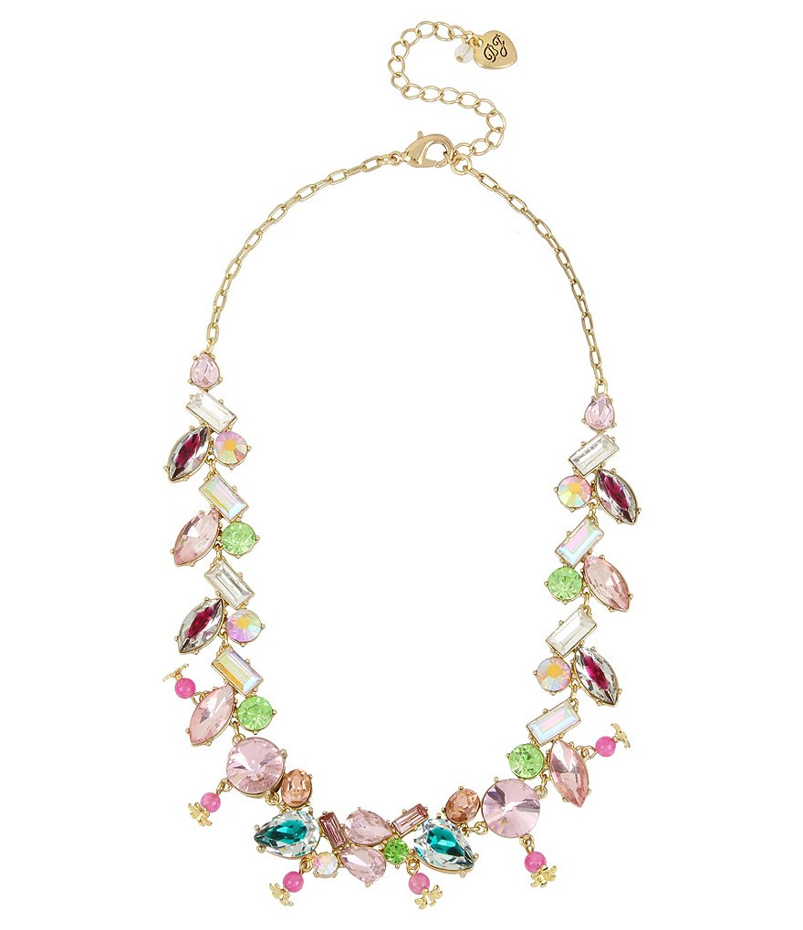 Betsey Johnson Mixed-Stone Collar Necklace
