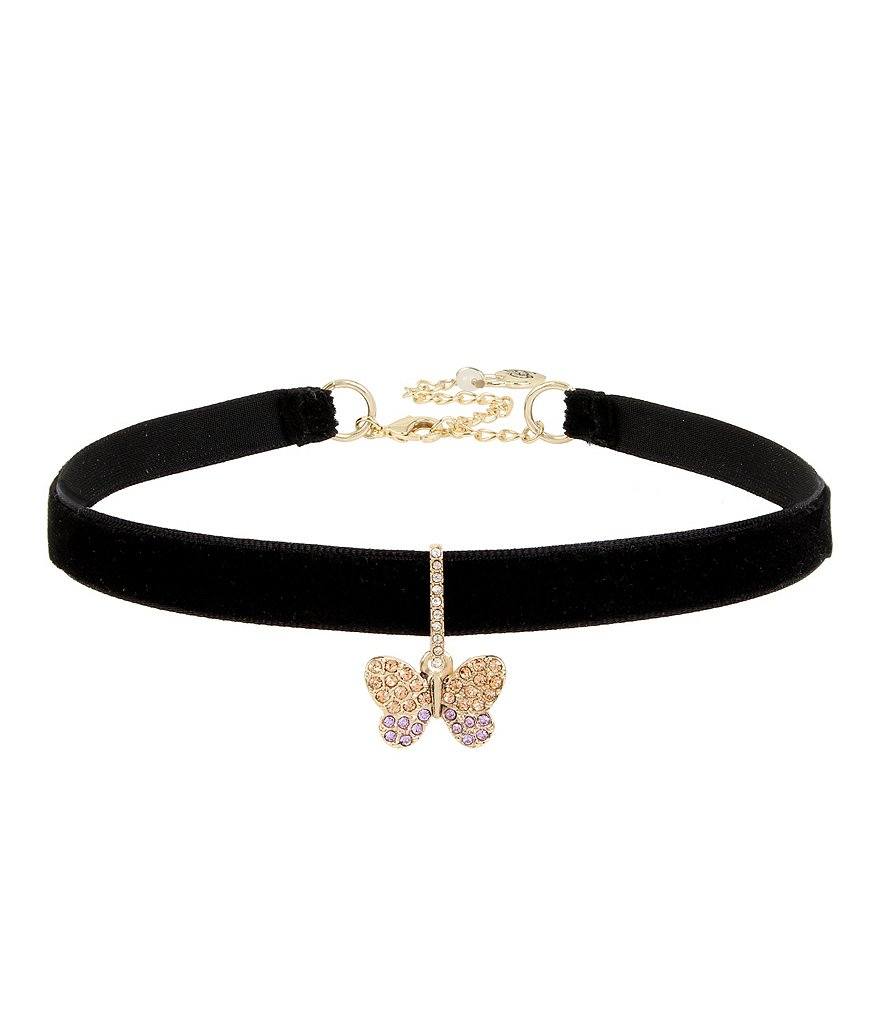 Betsey Johnson Pavé Butterfly Charm Choker Necklace