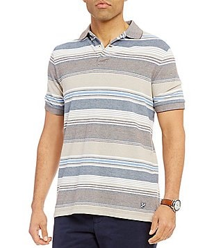 Cremieux Striped Oxford Pique Short-Sleeve Polo Shirt