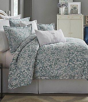 Southern Living Dunmore Floral Scroll Satin Comforter Mini Set