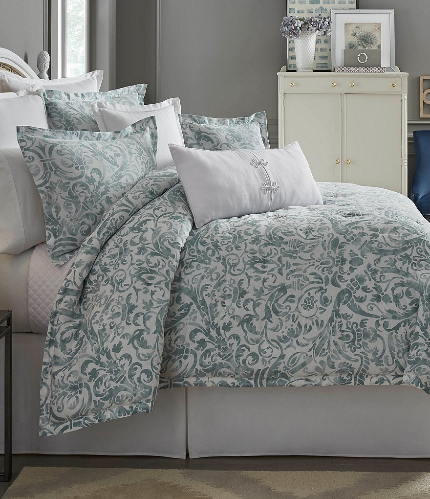 Southern Living Bedding : Southern Living In Bloom Collection Dunmore Floral Scroll ...
