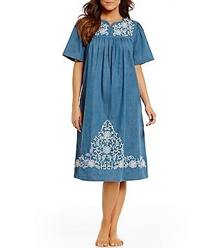 Go Softly Patio Embroidered Denim Patio Dress