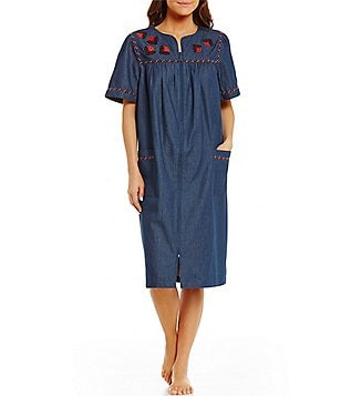 Go Softly Patio Ladybug-Embroidered Denim Patio Dress