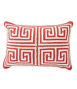 Southern Living Greek Key-Embroidered Breakfast Pillow