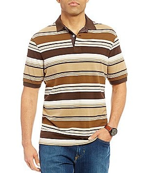 Cremieux Sonoran Trails Stripe Textured Short-Sleeve Polo Shirt