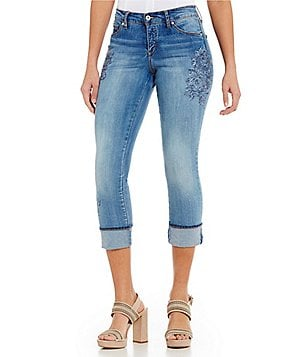 MIRACLEBODY JEANS Promise Roll-Up Floral Embroidery Crop Jeans