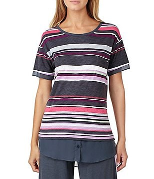 DKNY Striped Jersey & Chiffon Sleep Top