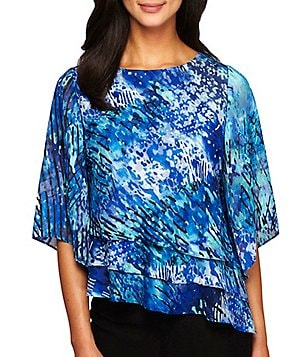 Alex Evenings Petite Printed Tiered Blouse