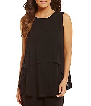 iRelax Layered Split-Back Slub Jersey Lounge Tank