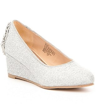 Badgley Mischka Girls´ Delilah Jeweled Glitter Wedge Dress Shoes