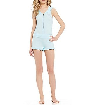 Betsey Johnson Rhinestone Mrs. Ruffled Hooded French Terry Lounge Romper