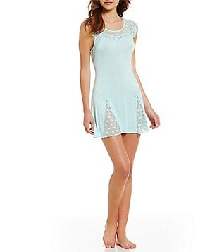Betsey Johnson Dotted Mesh & Lace Nightgown
