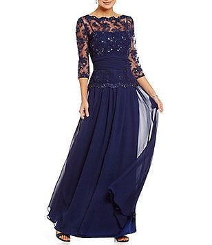 Emma Street Beaded Lace 3/4 Sleeve Gown