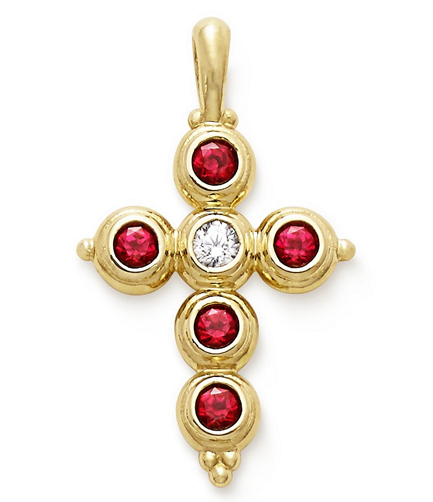 James Avery Antiquity 14K Gold Cross Pendant with Rubies & Diamond