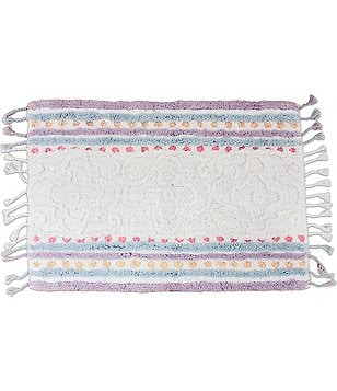 Dena Home Lilly Fringed Striped & Dotted Medallion Bath Rug