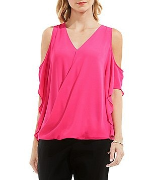 Vince Camuto Ruffled Cold-Shoulder Wrap Blouse
