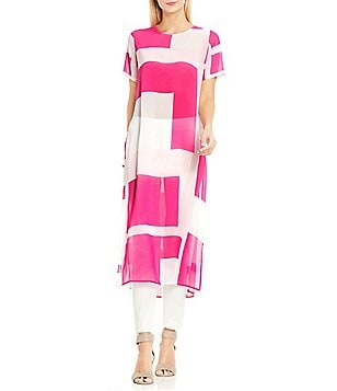 Vince Camuto Abstract Grid Keyhole Tunic