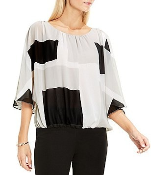 Vince Camuto Batwing Sleeve Abstract Grid Print Blouse