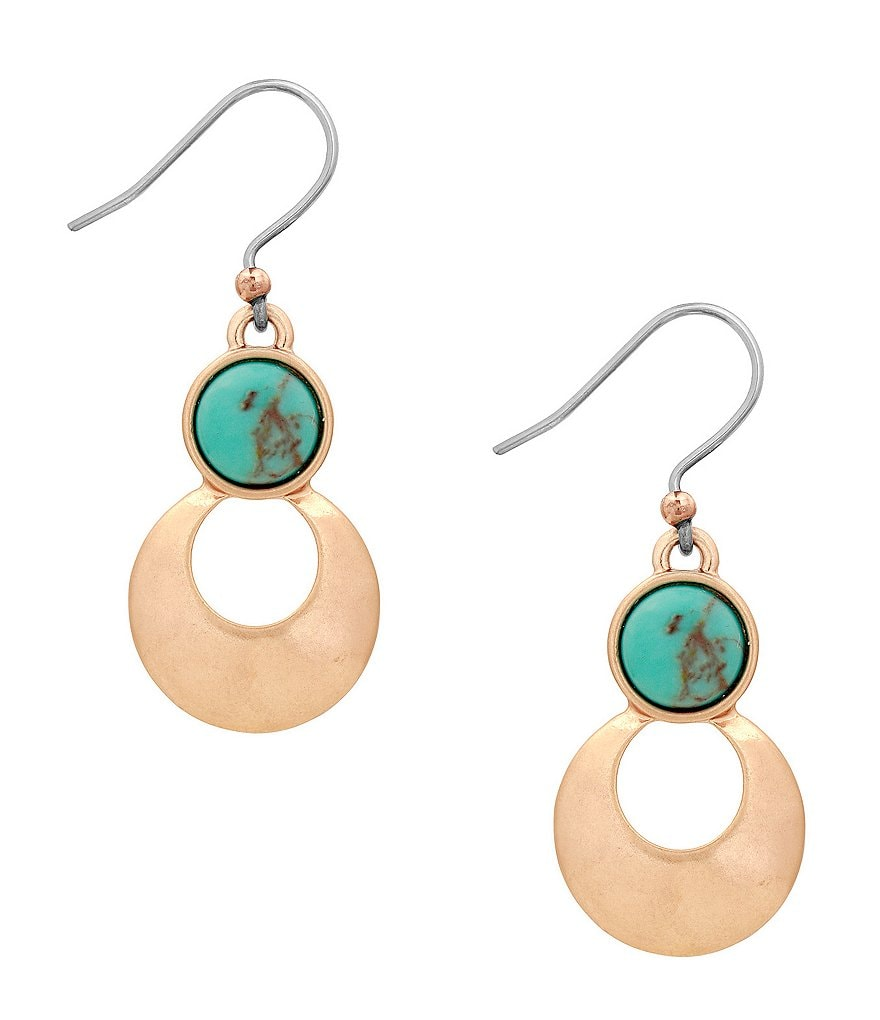Lucky Brand Turquoise Stone Drop Earrings