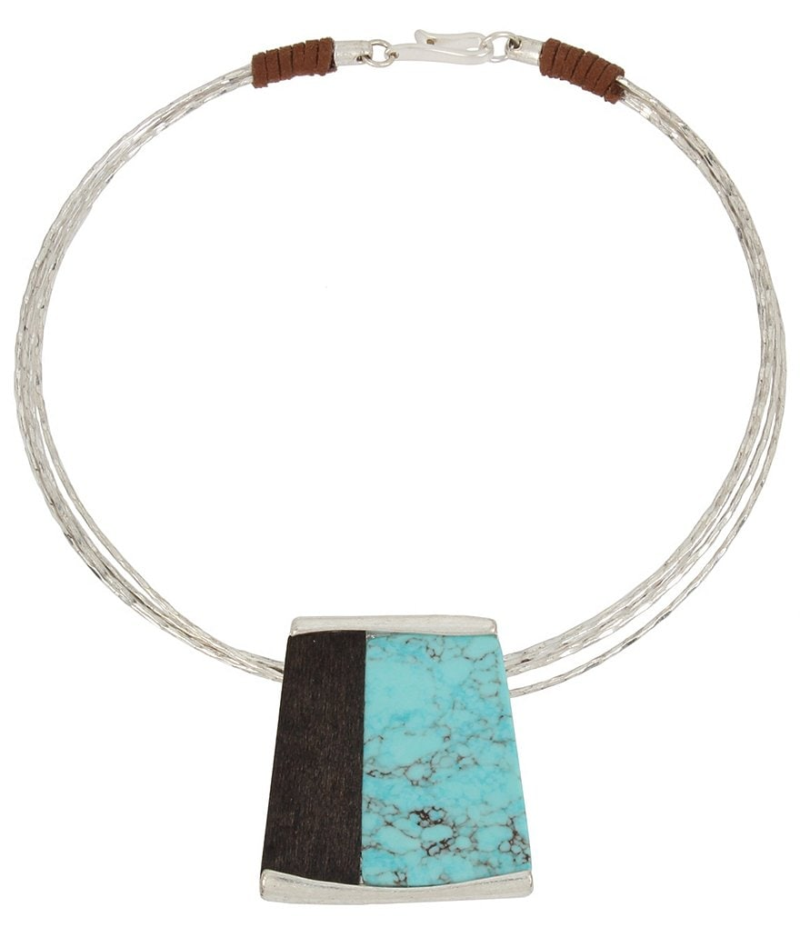 Robert Lee Morris Soho Turquoise & Wood Geometric Pendant Wire Collar Necklace