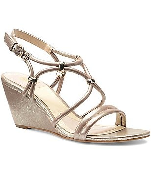 Isola Farah Leather Metallic Ornament Slingback Banded Wedge Sandal