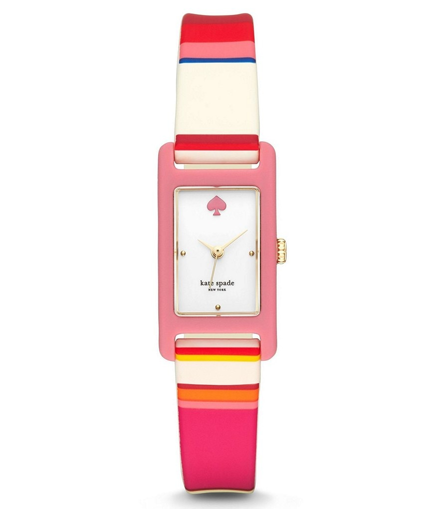 kate spade new york Duffy Rectangle Analog Striped Silicone-Strap Watch