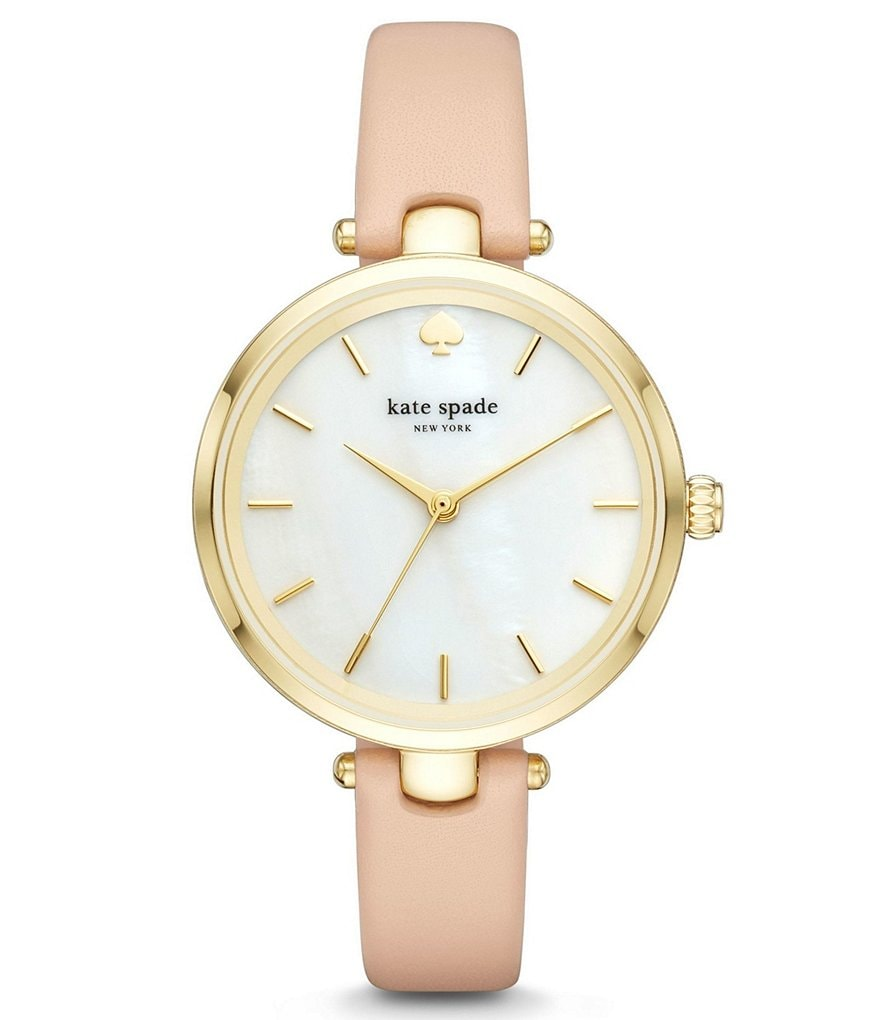 kate spade new york Holland Mother-of-Pearl Analog Leather-Strap Watch