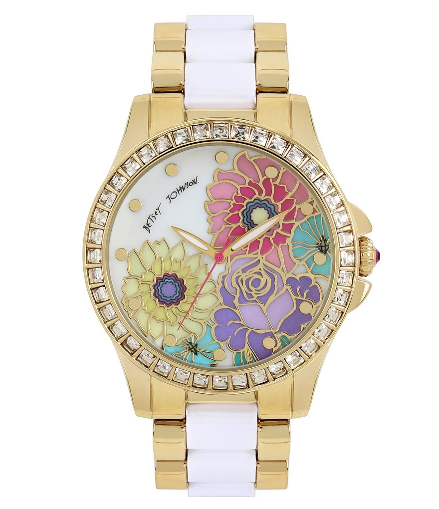 Betsey Johnson Floral Mother-of-Pearl Analog Bracelet Watch