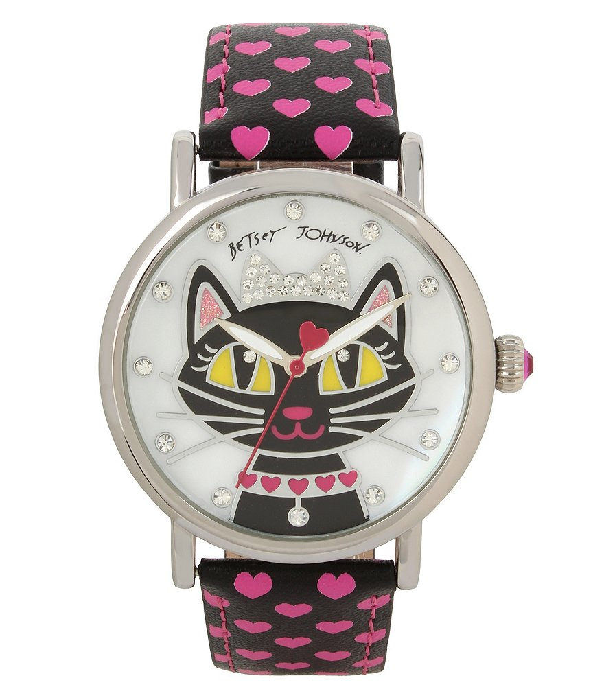Betsey Johnson Cat & Heart Mother-of-Pearl Analog Watch