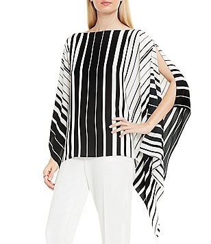 Vince Camuto Linear Accordian Striped Poncho