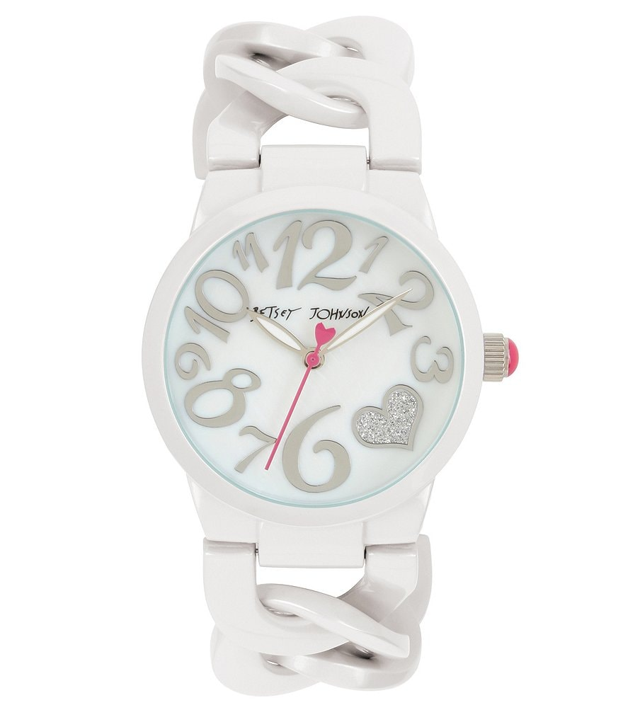 Betsey Johnson Pearlized Link Bracelet Watch