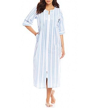Miss Elaine Striped Seersucker Zip Robe