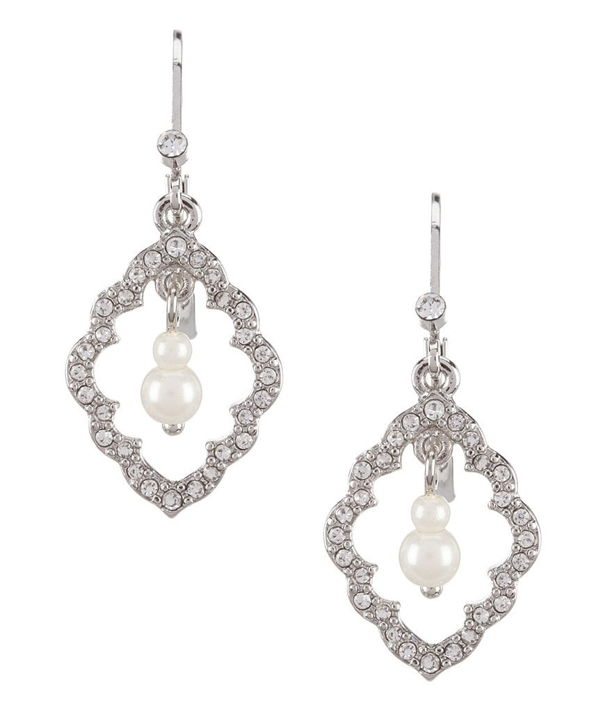 Carolee Icing on the Cake Moroccan Trellis & Faux-Pearl Drop Earrings