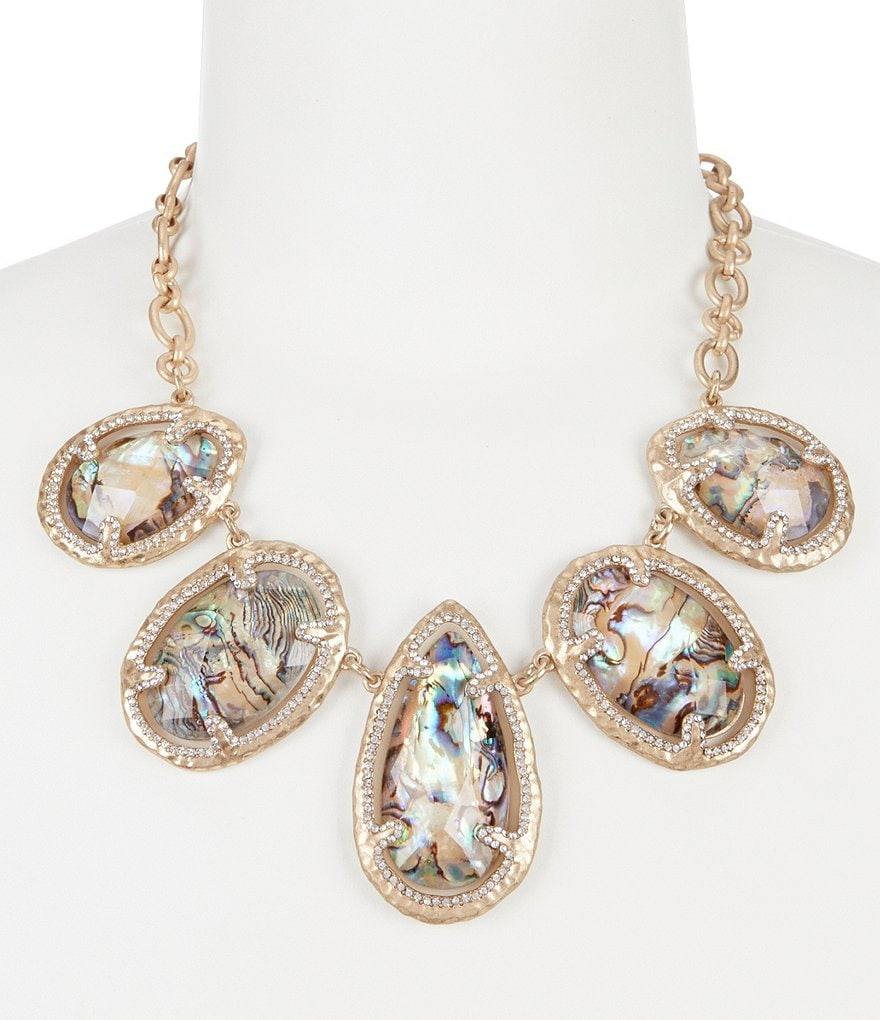 Belle Badgley Mischka Abalone Stone Collar Necklace