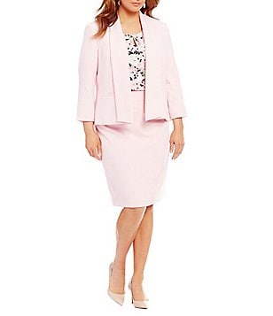 Kasper Plus Shawl-Collar Crepe Jacket & Stretch Crepe Pencil Skirt