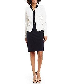 Alex Marie Claire Zip Front Jacket & Lyanna Belted V-Neck Sleeveless Sheath Dress
