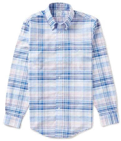 Brooks brothers non iron slim fit plaid oxford long sleeve for Brooks brothers non iron shirt review