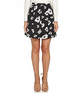 CeCe Floral Jacquard Invert Pleat Skirt