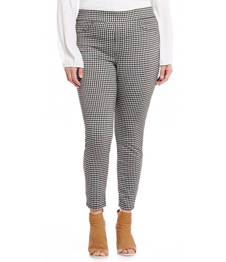 HUE Plus Gingham Denim Skimmer Leggings