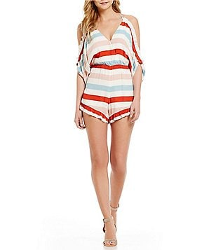 Lovers + Friends Malia Cold-Shoulder Ruffled Stripe Print Romper