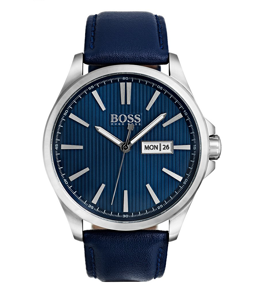BOSS The James Analog, Day & Date Leather-Strap Watch