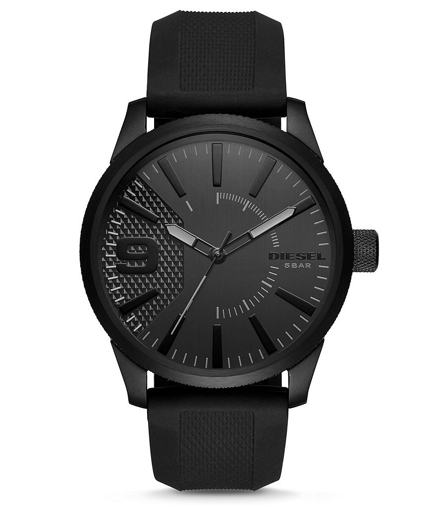 Diesel Rasp Analog Silicone-Strap Watch